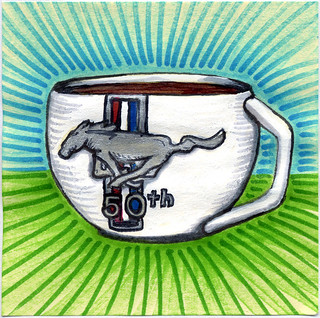 I drew you a 50th Anniversary Ford Mustang Mug of coffee