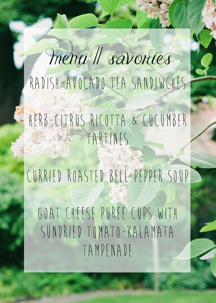 {menu for tea party & recipes} via chevrons & éclairs