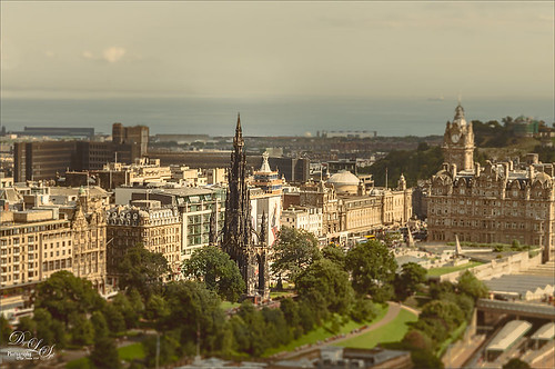 Image of Scott Monument taken from Edinburgh Castle in Scotland