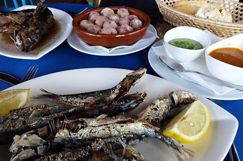 Fish and papas arrugadas, Cofradia de Pescadores, Puerto de la Cruz, Tenerife