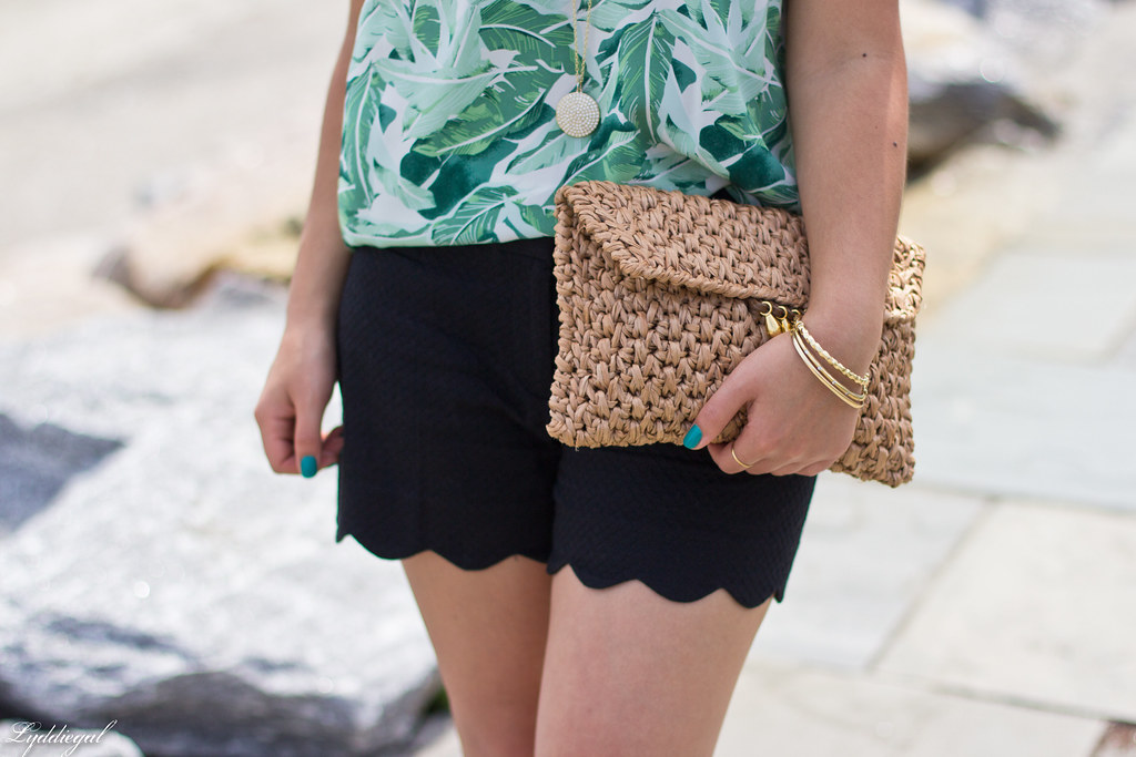 Leaf print tank, scalloped shorts, straw clutch-8.jpg