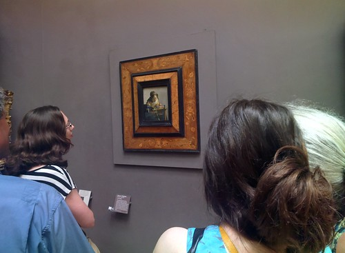 Amy views Vermeer's Lacemaker #throughglass