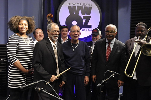 WWOZ's Pamela Wood and Dr. Al Colon with Frank Oxley and the Joint Chiefs of Jazz.  Photos by Leona Strassberg Steiner.