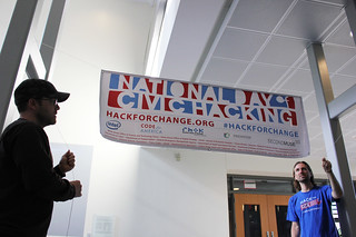 Hanging the National Day of Civic Hacking banner