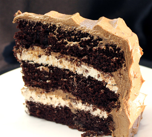 Chocolate Cake with Toasted Marshmallow Filling and Malted Chocolate Buttercream