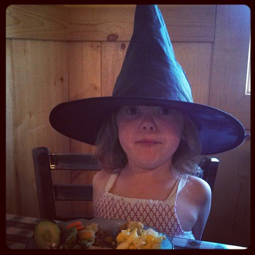 We went to dinner with a super cute witch.