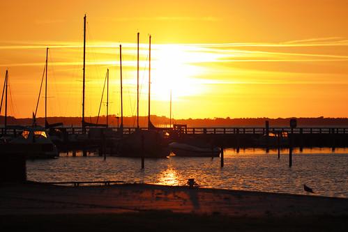 sunset beach water strand sunrise bay harbor wasser hafen sonne untergang