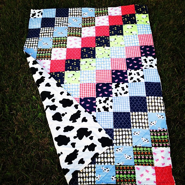 Custom order farm baby quilt with cow minky backing for @alisonhonea done!