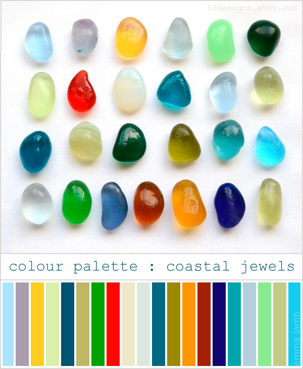 colour palette : coastal jewels // Vintage Rainbow Collection of small sea glass gems by 6d Designs on Etsy // all images Endlesshue for 6d Designs, palette curated by Emma Lamb