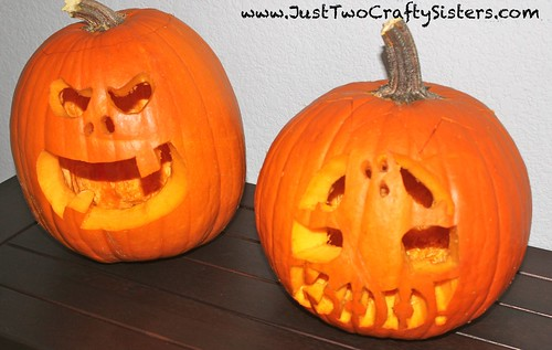 Having fun carving pumpkins