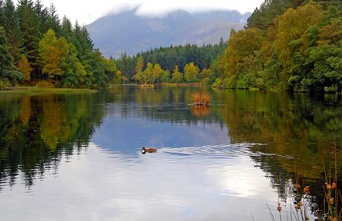 autumn mountain scotland highlands colours loch refelctions glencoelochan