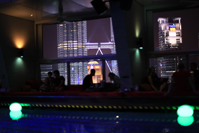 Petronas Towers from poolside in SkyBar, Traders Hotel, Kuala Lumpur