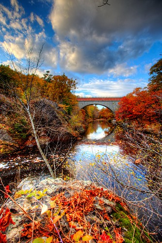 bridge autumn fall colors leaves day cloudy massachusetts echo foliage hdr stas burdan newtonupperfalls