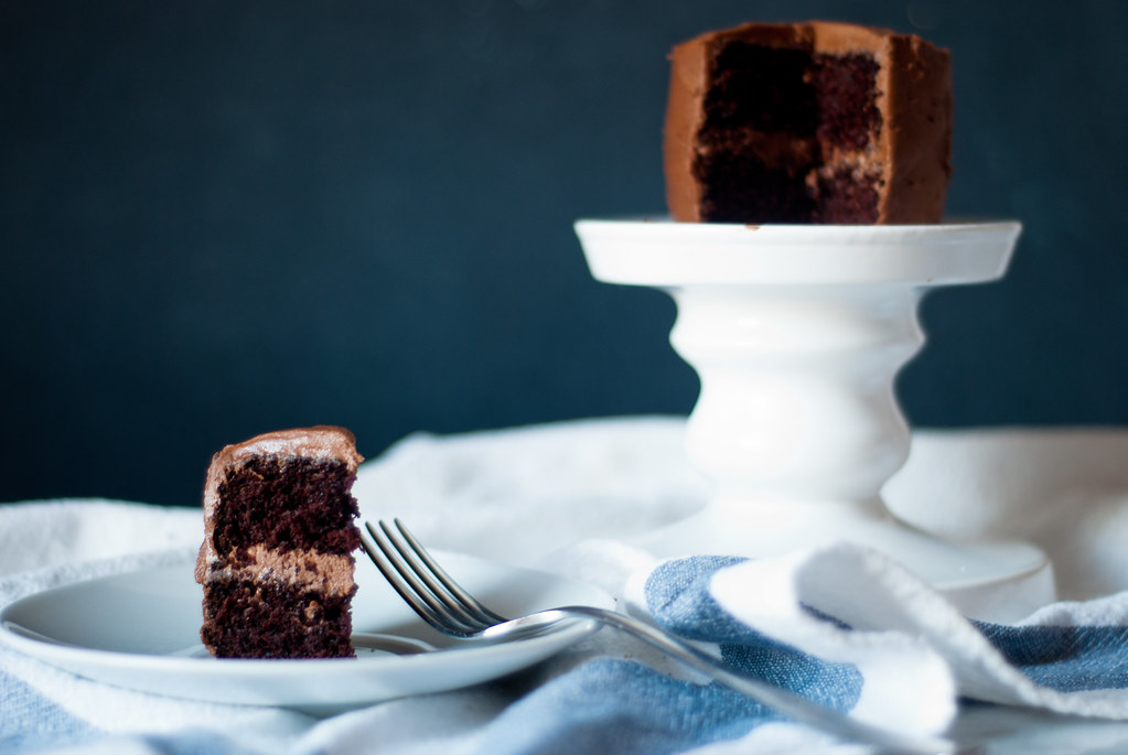 Easy (and vegan!) miniature chocolate layer cake, with a not-so