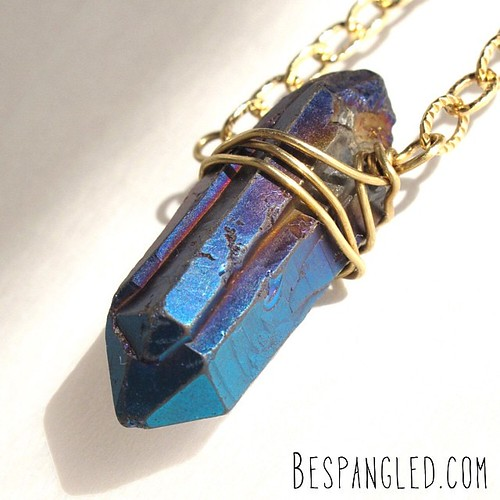 Mystic blue quartz crystal point long necklace