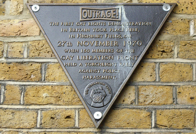 Bronze plaque № 8323 - The first gay rights demonstration took place here, in Highbury Fields, on 27th November 1970 when 150 members of the Gay Liberation Front held a torchlight rally against police harassment.