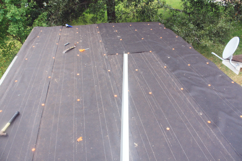 First, We Applied An Overlapped Layer Of #30 Felt Paper (about 3 Rolls)  With Capped Roofing Nails. Then We Attached Drip Edges Around The Entire  Roof.