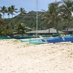 Boats in a line, Lanikai, Oahu