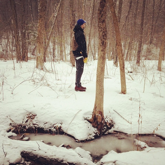 @archivalclothing in the woods! By the brook!! #flaimview #whosewoodstheseare