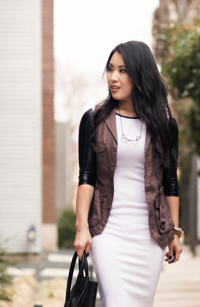 cute & little blog | choies leather sleeves baseball tee dress, cargo vest, louboutin decollete | casual dress layering outfit