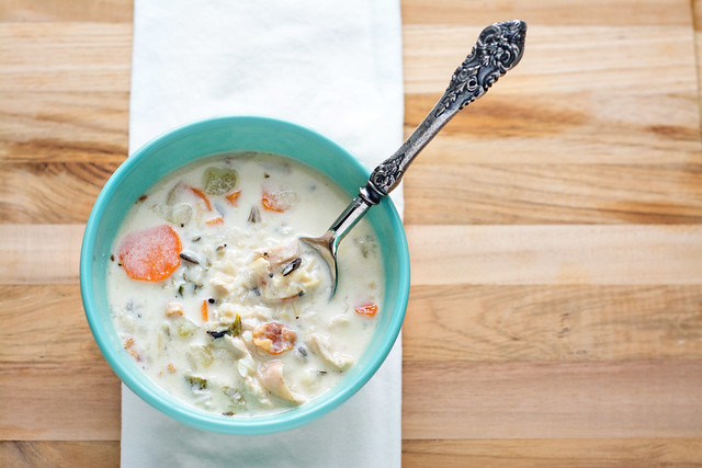 Creamy Chicken and Wild Rice Soup with Bacon