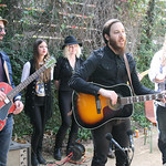 Thu, 13/03/2014 - 3:39pm - Adrian Quesada, Dante Schwebel and Patrick Hallahan (and band) visit Team FUV at the Hotel San Jose, SXSW 2014. Photo by Laura Fedele