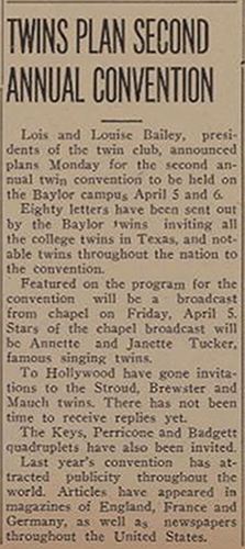 "Second Twins Convention announced, January 30, 1940, Baylor University, ""Baylor Lariat,"" Waco, Texas"