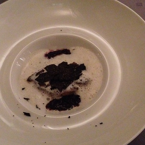 Risotto of Black Rice with fried goose liver and black truffle