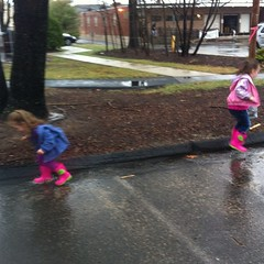 Jumping in muddy puddles.