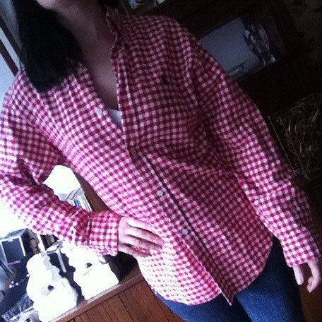 Ralph Lauren checked blouse from tag sale in Great Neck