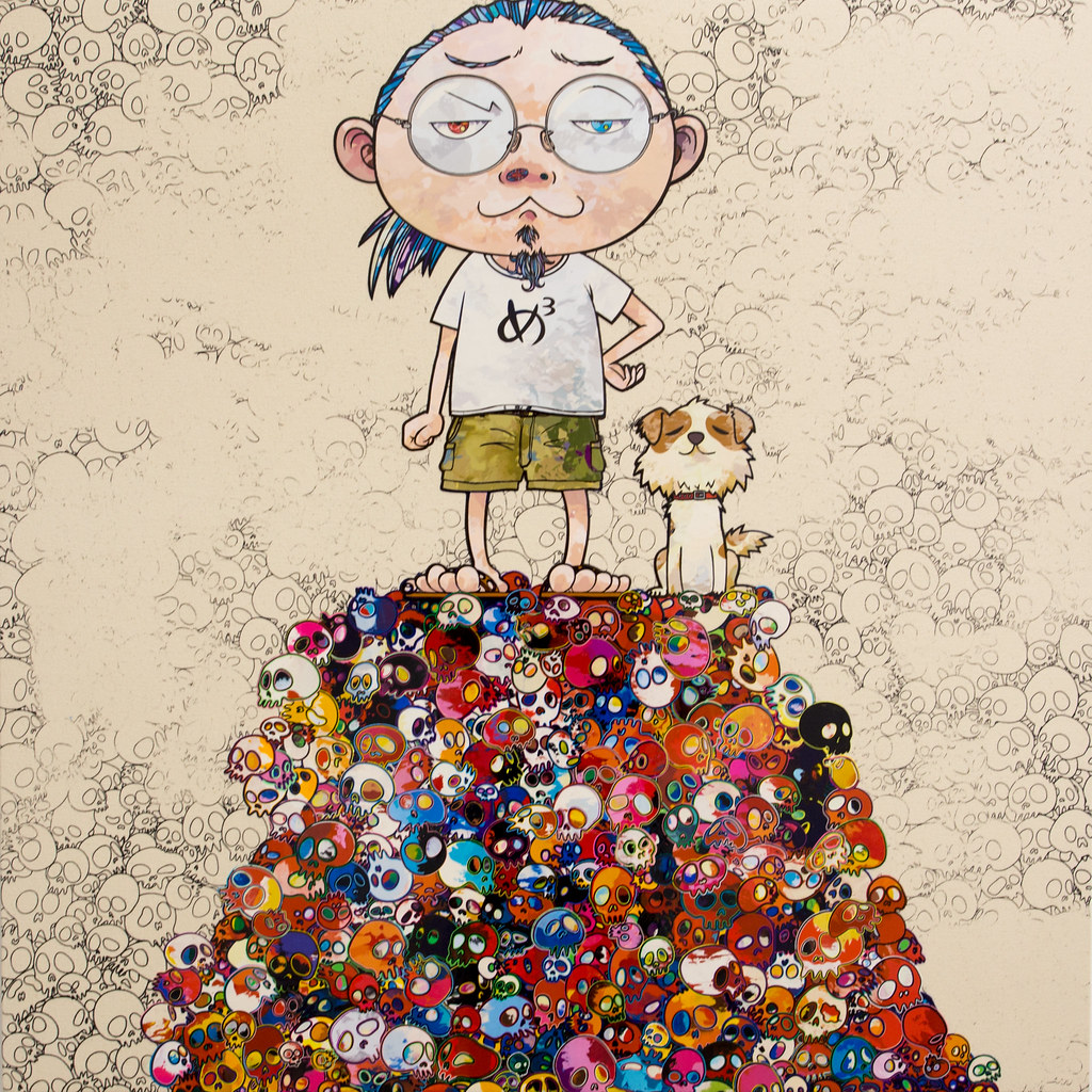 """Painting by Takashi Murakami 村上隆: Pom & Me: On the Red Mound of the Dead, 2013 (Acrylic on canvas mounted on board)"" / Blum & Poe / Art Basel Hong Kong 2013 / SML.20130523.6D.13924.SQ"