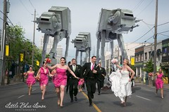 The terrified wedding party with AT-AT walkers
