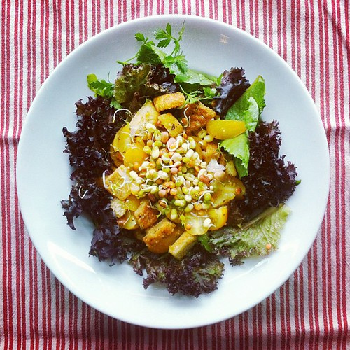 Beans week n.3: yellow #tomatoes #croutons #sprouted #beans #lettuce #shallots #balsamicvinegar #extravirginoliveoil #salad #vegetarian #vegan by Salad Pride
