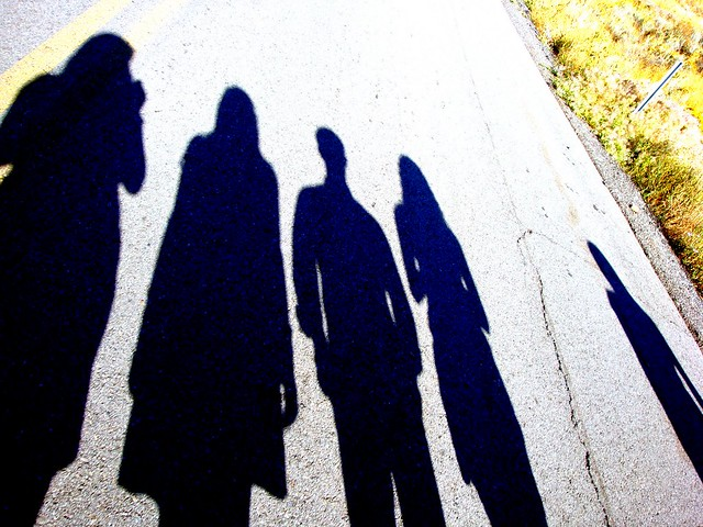 Picnik our shadows- steph, me, travis, fenja, jesse