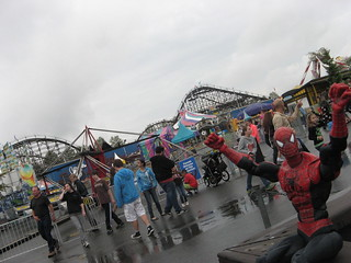 Spider-Man loves slow, semi-rainy, overcast days with short lines at Playland!