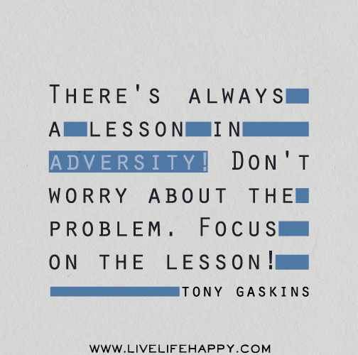 There's always a lesson in adversity! Don't worry about the problem. Focus on the lesson! - Tony Gaskins