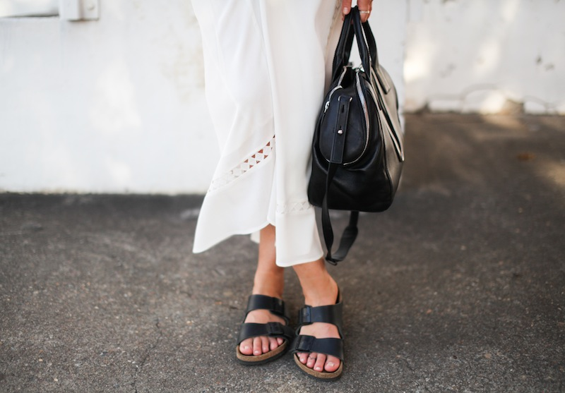 modern legacy fashion blog style blogger white maxi dress summer street style birkenstock sandals wide fedora hat alexander wang bag celine sunglasses monochrome (1 of 8)