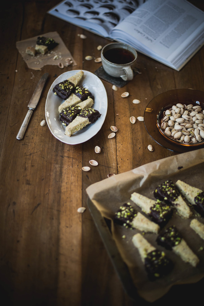 Chocolate-Dipped Pistachio Shortbread + A Giveaway - Local Milk Blog