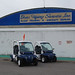MassDOT posted a photo:	Electric vehicles parked outside the Don's Flying Service hanger at Marlboro Airport