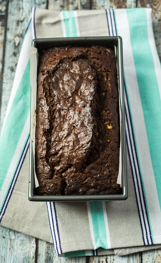 Chocolate Coconut Zucchini Bread In Loaf Pan