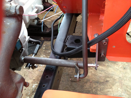 72cj5 clutch cable question jeepforum com\u002772 the transmission bell housing had the two holes to mount one side of the linkage, and i had to drill the holed in the body tub to mount the other