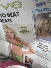 newspaper, blond, adult, advertising,