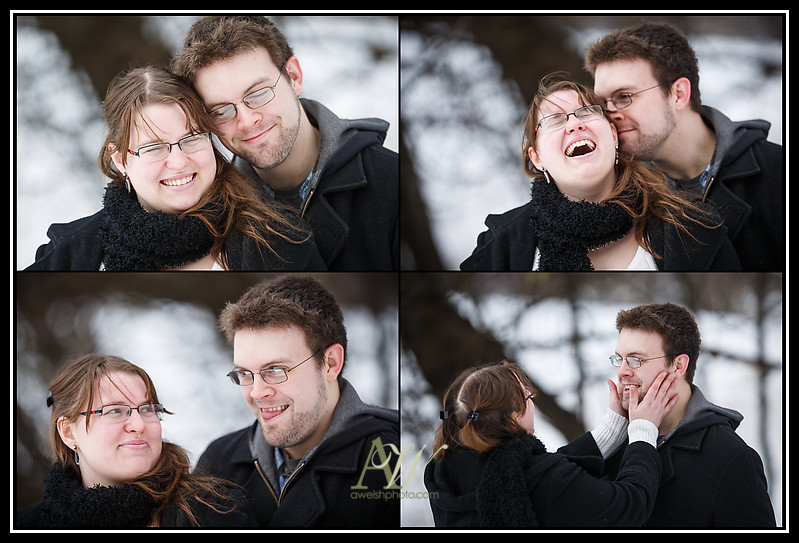 Rochester engagement wedding photography portraits Mendon Ponds Henrietta park snow winter cold outdoor sled sledding toboggan Andrew Welsh