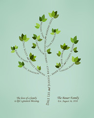 Family tree with names art sea green brown present day green leaves
