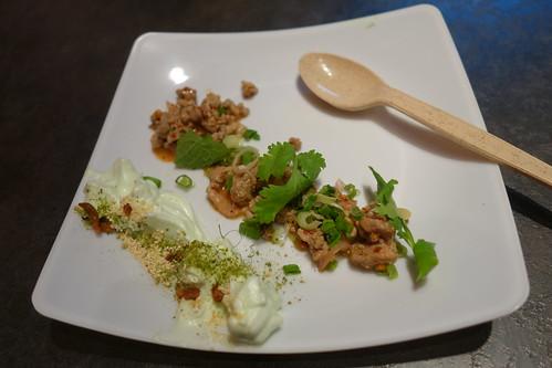 Kiin Kiin's Spicy Minced Duck with Foamy Yam Meringue & Mint - Savour 2014