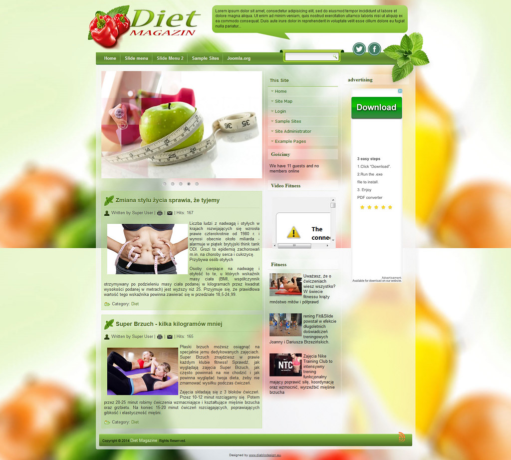 DD Diet Magazine Joomla 2.5 Or 3.2 Responsive