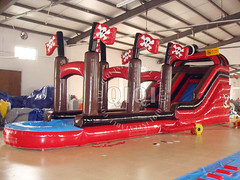 Inflatable pirate ship water slide-02