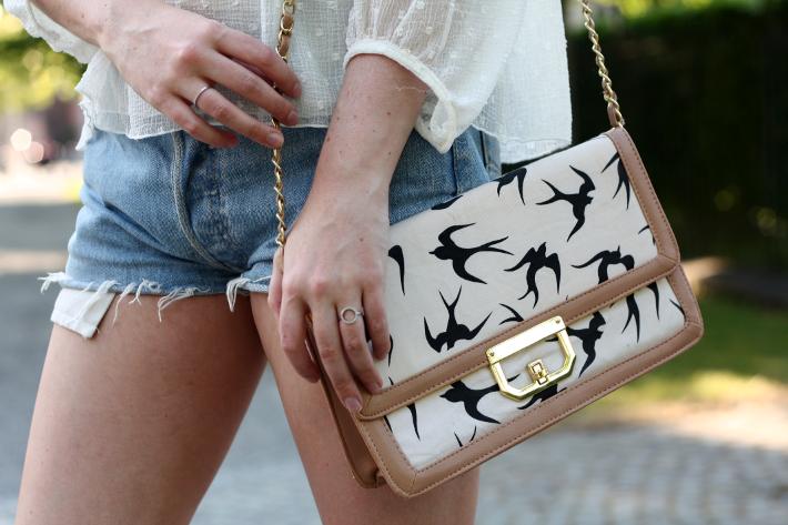 vintage levis shorts bird print purse