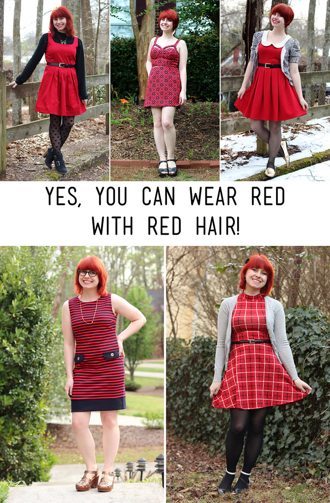 Wearing Red Dresses with Bright Red Hair