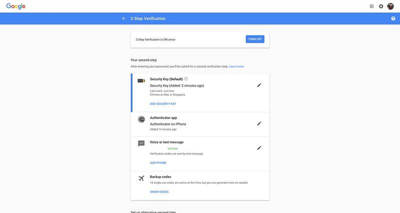Google - 2 Step Verification - Methods - After
